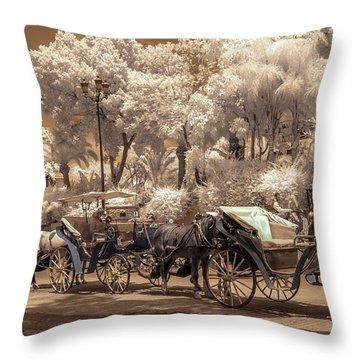 Marrakech Street Life - Horses Throw Pillow