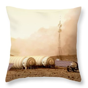 Throw Pillow featuring the digital art Mars Dust Storm by Bryan Versteeg