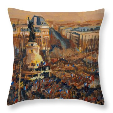 Throw Pillow featuring the painting Mars Je Suis Charlie 11 Janvier 2015 by Nop Briex