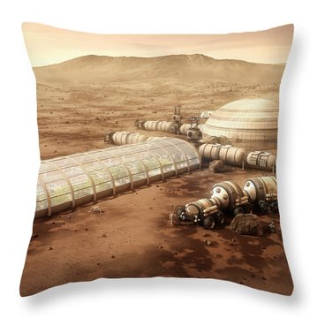 Throw Pillow featuring the mixed media Mars Settlement With Farm by Bryan Versteeg
