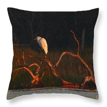 Throw Pillow featuring the digital art Marsh Bird Sunrise by Deborah Smith