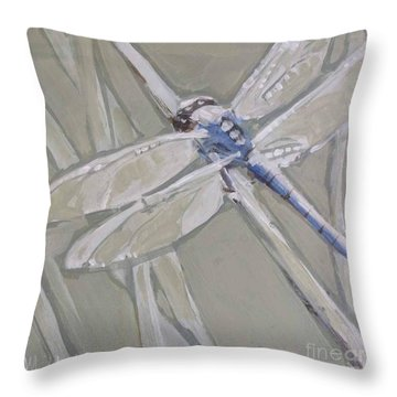 Marsh Dragonfly Throw Pillow by Mary Hubley