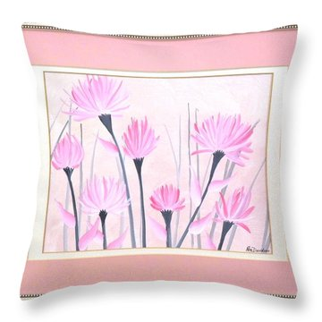 Marsh Flowers Throw Pillow