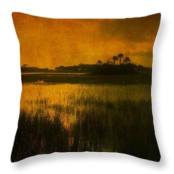 Marsh Island Sunset Throw Pillow by Susanne Van Hulst