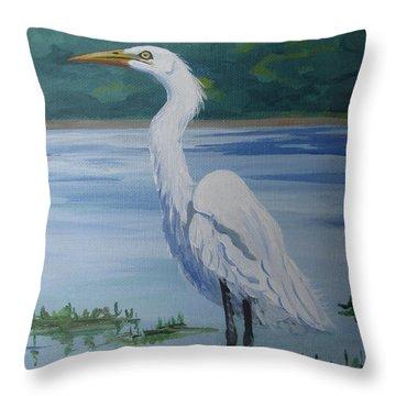Marsh Land Egret Throw Pillow