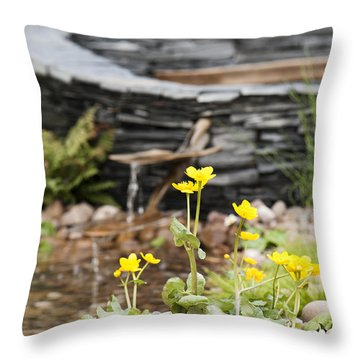 Marsh Marigolds Throw Pillow by Anne Gilbert
