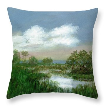 Throw Pillow featuring the painting Marsh Sketch by Kathleen McDermott