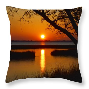 Throw Pillow featuring the photograph Ocean City Sunset At Old Landing Road by Bill Swartwout