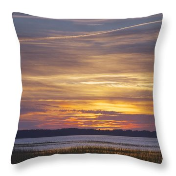 Marsh Sunset Throw Pillow by Phill Doherty