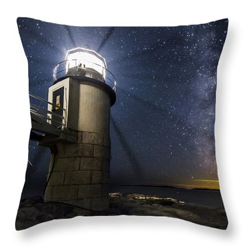 Marshall Lighthouse And The Night Sky Throw Pillow