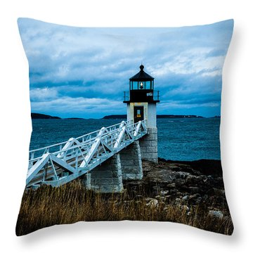 Marshall Point Light At Dusk 2 Throw Pillow