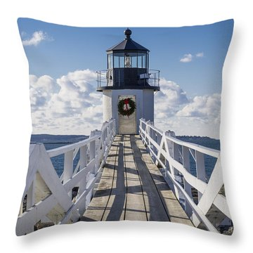 Marshall Point Light Throw Pillow by David Cote