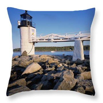 Marshall Point Light-sq Throw Pillow