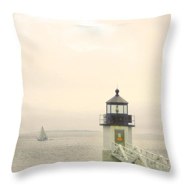 Marshall Point Lighthouse In Maine Throw Pillow