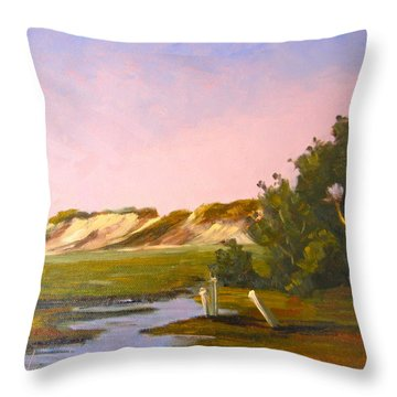 Marshlands Plymouth Landing Throw Pillow by Betty Ann Morris