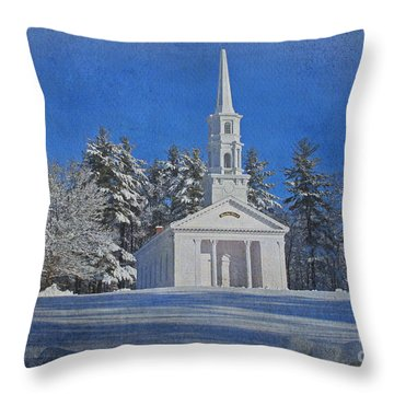 Martha Mary Chapel In Winter Throw Pillow by Jayne Carney