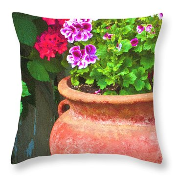 Martha Washington Geraniums In Textured Clay Pot Throw Pillow by Sandra Foster