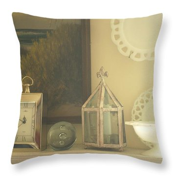 Martha's Fireplace Mantle Throw Pillow by Suzanne Powers