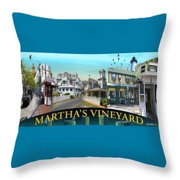 Martha's Vineyard Collage Throw Pillow by Gerry Robins