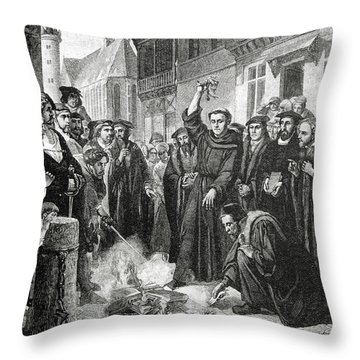 Martin Luther 1483 1546 Publicly Burning The Pope's Bull In 1521  Throw Pillow by English School