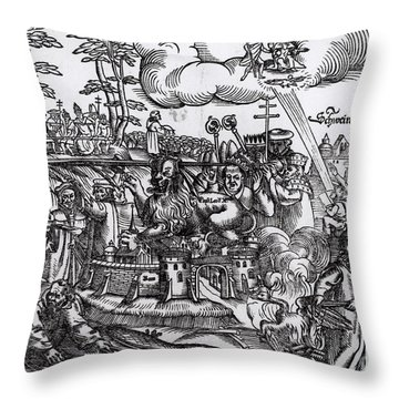 Martin Luther 1483 1546 Writing On The Church Door At Wittenberg In 1517 Throw Pillow by German School