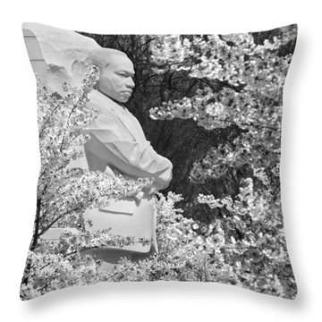Martin Luther King Memorial Through The Blossoms Throw Pillow by Mike McGlothlen