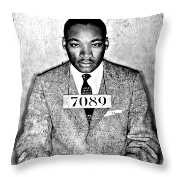 Martin Luther King Mugshot Throw Pillow by Bill Cannon