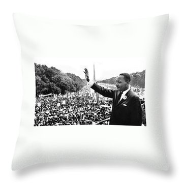 Martin Luther King The Great March On Washington Lincoln Memorial August 28 1963-2014 Throw Pillow by David Lee Guss