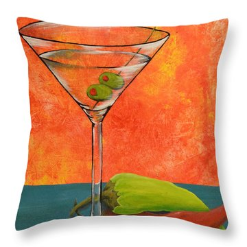 Martini And Pepper Throw Pillow