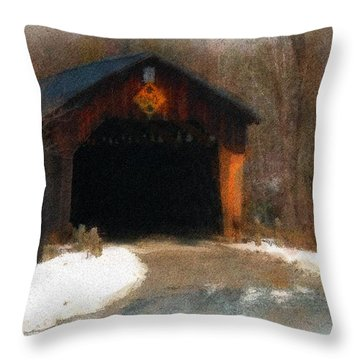 Martinsville Covered Bridge Throw Pillow by Mike Martin