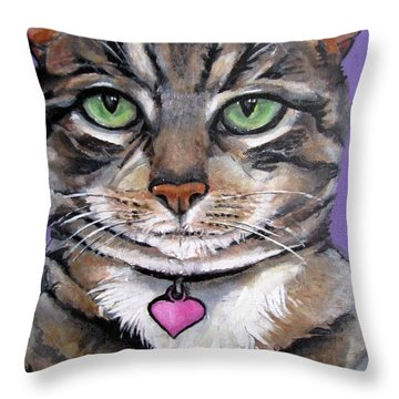 Marvelous Minnie The Gallery Cat Throw Pillow