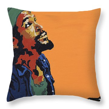 Marvin Gaye Throw Pillow by Rachel Natalie Rawlins