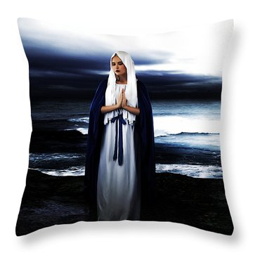 Mary By The Sea Throw Pillow by Cinema Photography