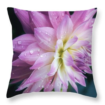 Mary Ellen's Morning Dew Dahlia Throw Pillow