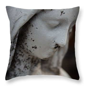 Mary In The Garden Throw Pillow by Lynn Sprowl