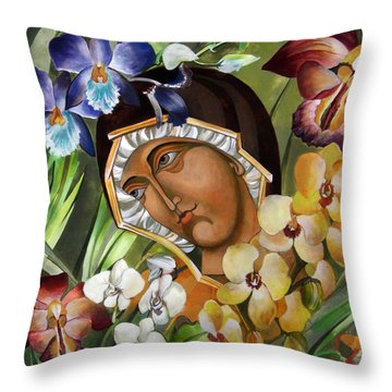 Mary Of The Orchids  Throw Pillow