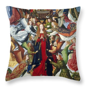 Mary, Queen Of Heaven, C. 1485- 1500 Oil On Panel Throw Pillow
