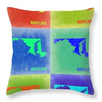 Maryland Pop Art Map 2 Throw Pillow by Naxart Studio