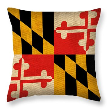 Maryland State Flag Art On Worn Canvas Throw Pillow by Design Turnpike