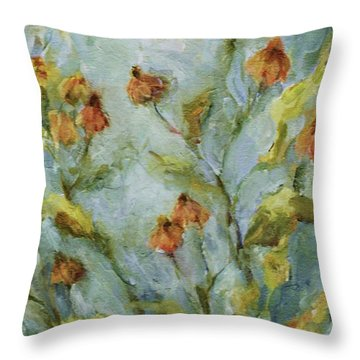 Throw Pillow featuring the painting Mary's Garden by Mary Wolf