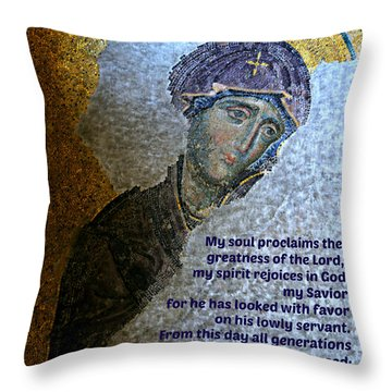 Mary's Magnificat Throw Pillow by Stephen Stookey
