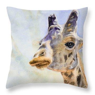 Throw Pillow featuring the painting Masai Giraffe by Bonnie Rinier