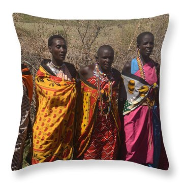 Throw Pillow featuring the photograph Masai Women Chorus by Tom Wurl