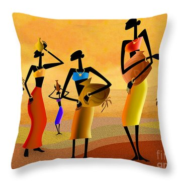 Masai Women Quest For Water Throw Pillow