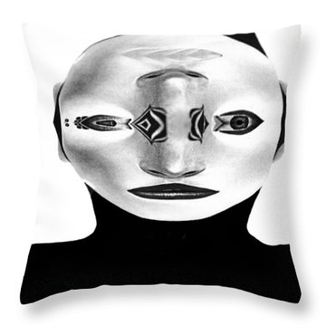 Throw Pillow featuring the painting Mask Black And White by Rafael Salazar