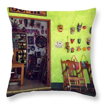 mask shop in Mexico Throw Pillow by Haleh Mahbod