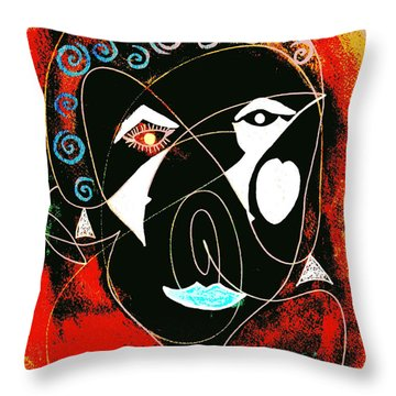 Masked Abstract Throw Pillow