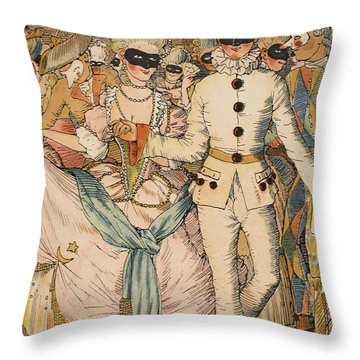 Masked Ball Throw Pillow by Konstantin Andreevic Somov