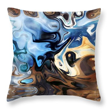 Throw Pillow featuring the digital art Masks by Annie Zeno
