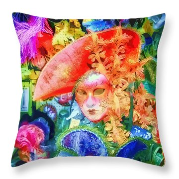 Throw Pillow featuring the photograph Masks Of Venice 22 by Jack Torcello